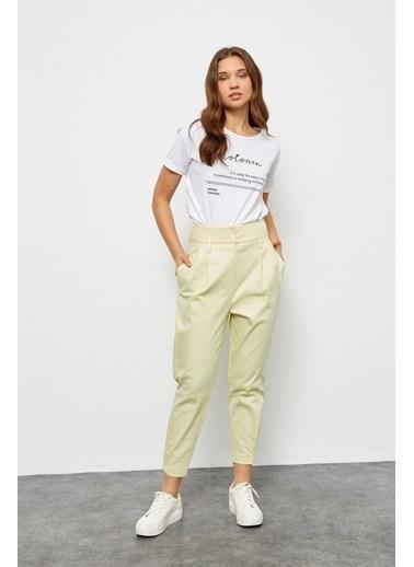 Setre Açık Sarı Yüksek Bel Havuç Pantolon Sarı